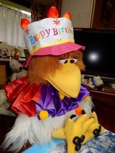 師匠キタサンが飼っているニワトリにこの日バースデーのプリティけいこへのプレゼント帽子